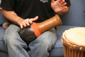 D'Arcy plays the udu - we kept wondering why a vase would have a hole in the side